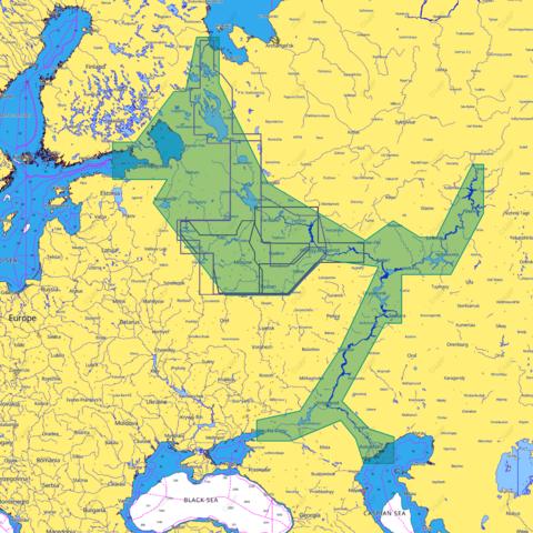 Карта C-MAP  Запад России, внутренние водные пути