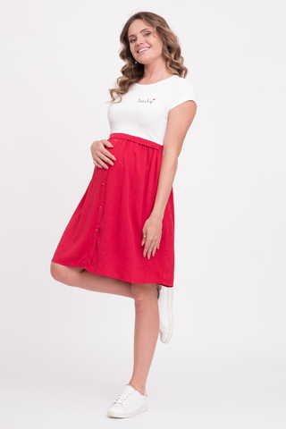 Платье для беременных и кормящих 10741 бело-красный