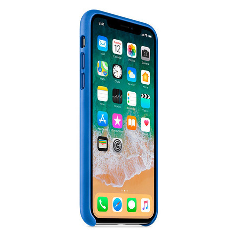 iPhone X Leather Case Electric Blue