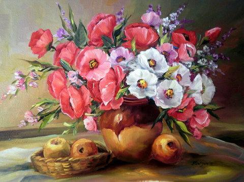 Алмазная Мозаика 30x40 Цветы и яблоки  (арт. X088 )