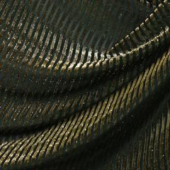 Бархат зелёный в золотистую полосу