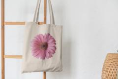 Сумка-шоппер с принтом Цветы (Герберы) бежевая 003
