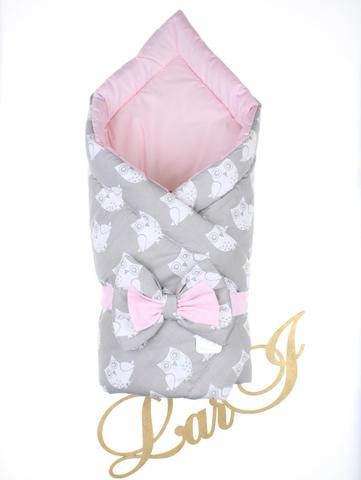 Конверт одеяло двустороннее Совушка (розовый/серый сова)