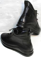 Кожаные женские ботинки сникерсы Evromoda 375-1019 SA Black