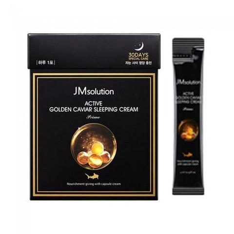 JMsolution Ночная маска для лица с экстрактом золота и икры Active Golden Caviar Sleeping Cream Prime, 4 мл