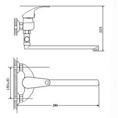 Фото размер смеситель для ванной Zegor EYB-A