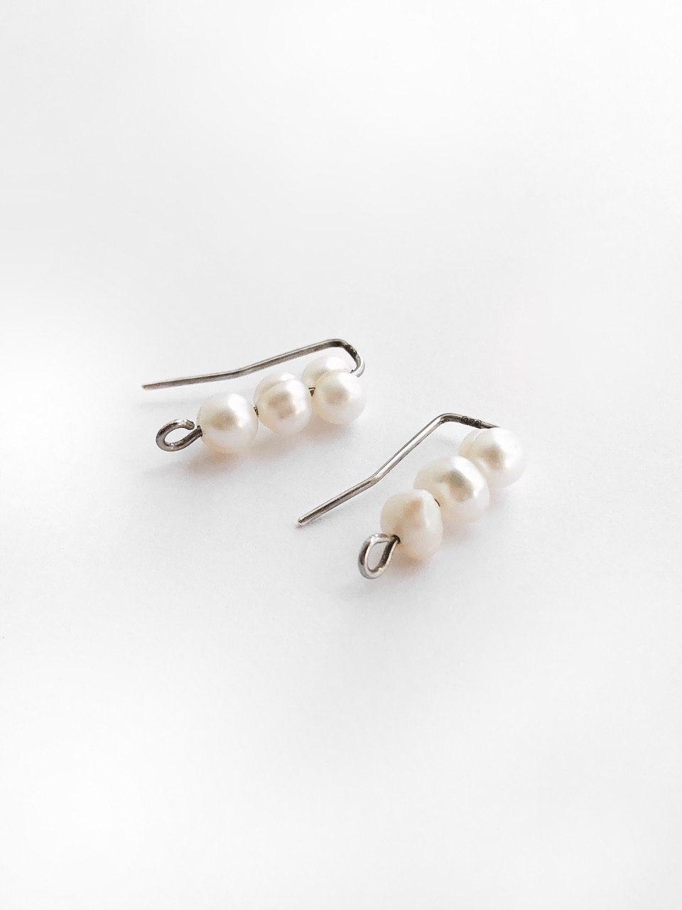 Серебряные серьги-зажимы с культивированным жемчугом