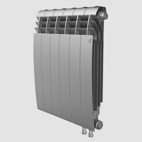 Биметаллический радиатор с правым нижним подключением Royal Thermo Biliner 350 V Silver Satin (серебристый)- 4 секции