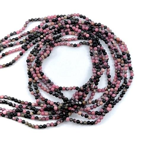 Бусины родонит шар гладкий  2,2 мм оттенки розового, бежевый и черный