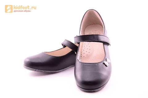 Туфли для девочек из натуральной кожи на липучке Лель (LEL), цвет черный. Изображение 10 из 18.