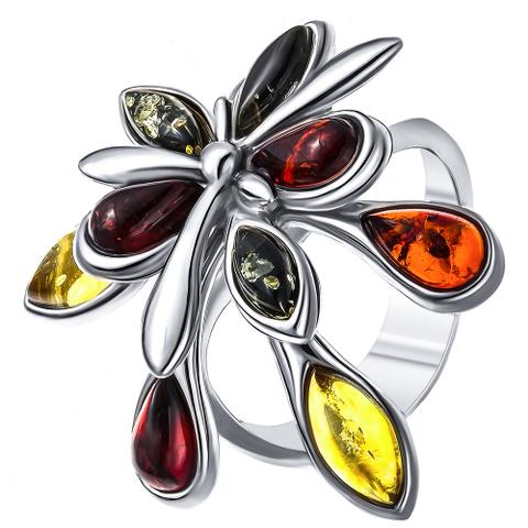 Серебряное кольцо с Янтарем 19 размер