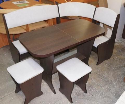Кухонный уголок Весна (кожзам) с раскладным столом