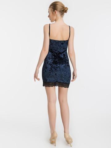 Бархатное мини платье-комбинация с кружевом, темно-синее 2