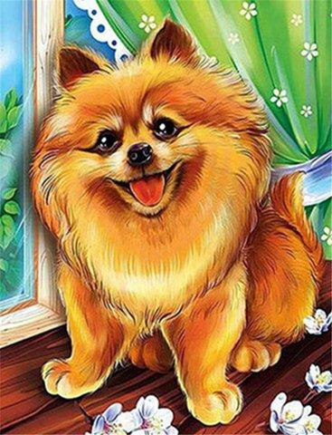 Картина раскраска по номерам 30x40 Улыбающийся щенок