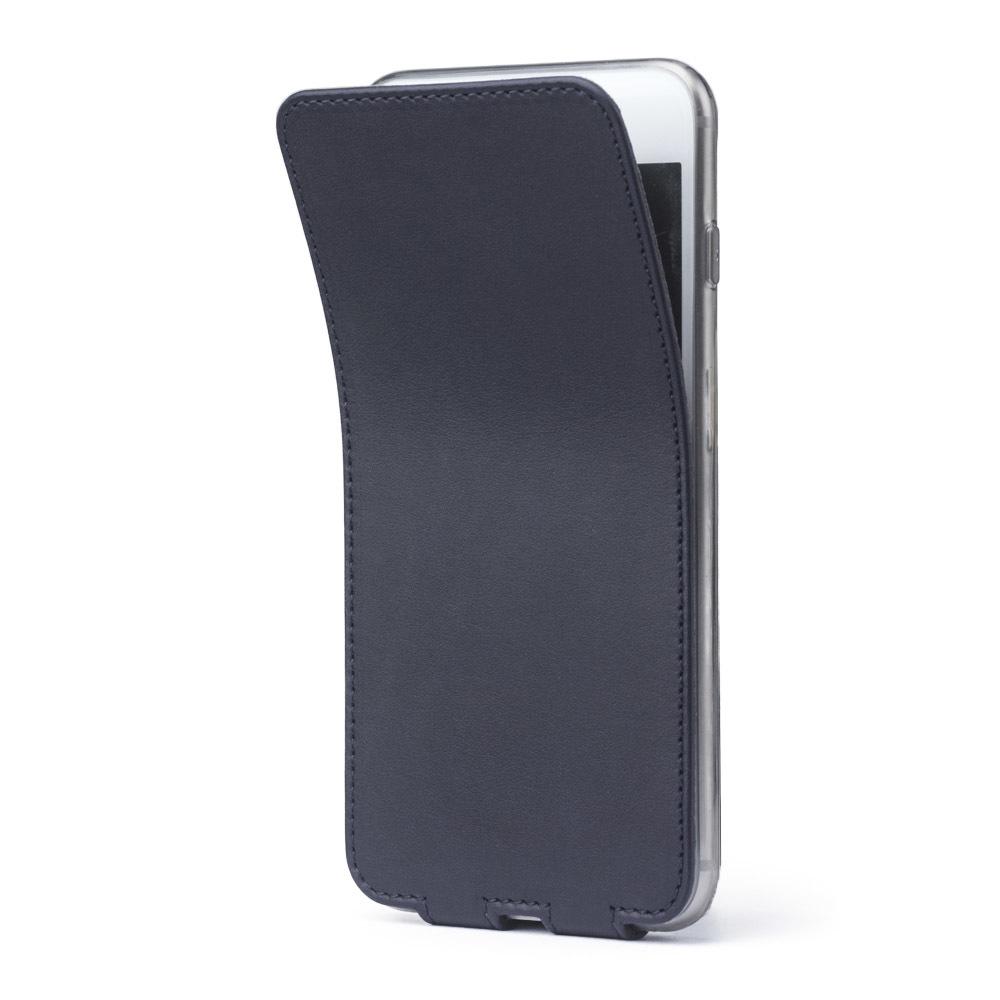Чехол для iPhone 7 Plus из натуральной кожи теленка, темно-синего цвета