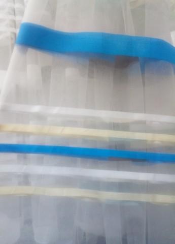 Микросетка с вышивкой полосы голубые. Ширина - 280 см. Арт. АF-323-3
