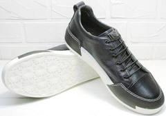 Кожаные сникерсы кроссовки синие с белой подошвой мужские демисезонные Luciano Bellini C6401 TK Blue.