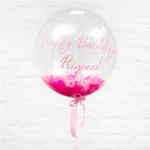 Шар бабл с розовым и белым пером и надписью
