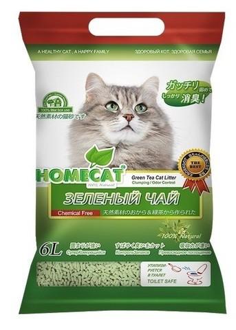 HOMECAT Эколайн Зеленый чай комкующийся наполнитель для кошачьих туалетов с ароматом зеленого чая 6л