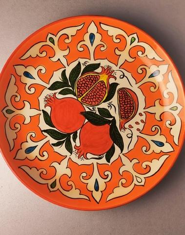 Ляган ручная роспись оранжевый гранат 38 см