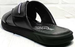 Модные шлепанцы сандали с открытой пяткой мужские Brionis 155LB-7286 Leather Black.