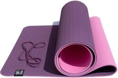 Коврик для йоги Original FitTools 6 мм двуслойный TPE бордово розовый