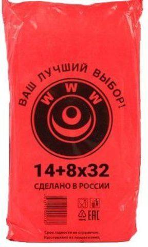 Пакет фасовочный, ПНД 14+8x32 (7) в пластах WWW красная (арт 70044)