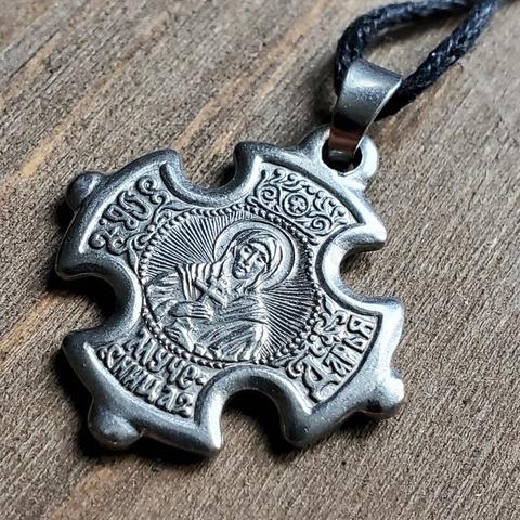 Нательная именная икона святая Дарья с молитвой посеребренный крест