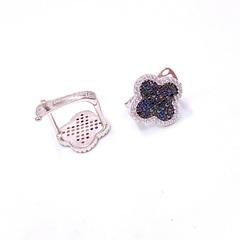 85129 - Серьги Trendy из серебра с черно-синими микроцирконами