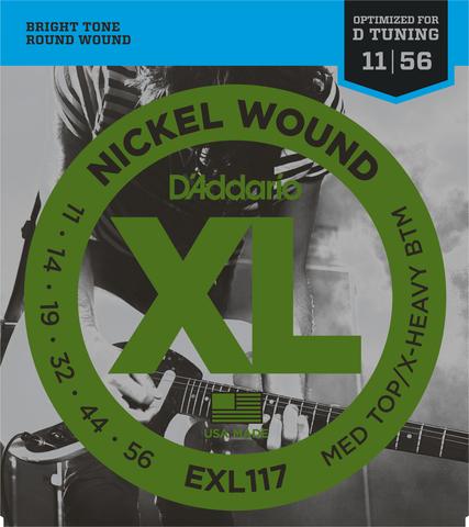 D`ADDARIO EXL117 NICKEL WOUND MEDIUM TOP/EXTRA-HEAVY BOTTOM 11-56