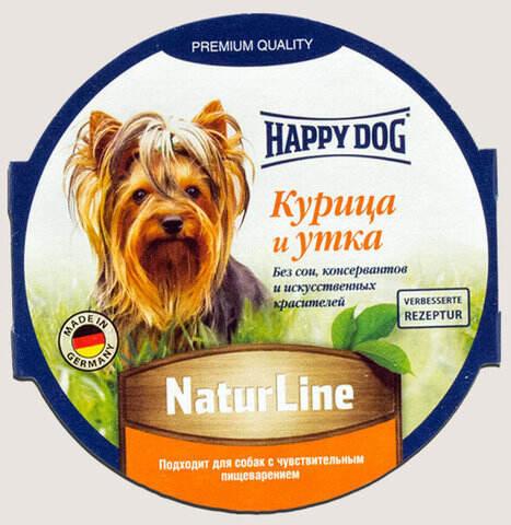 купить Happy Dog NaturLine Курица и утка влажный паштет (ламистер) для щенков и взрослых собак 1 шт