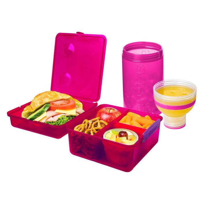 """Набор Sistema """"Lunch"""": ланч-бокс с баночкой и бутылка, цвет Розовый"""