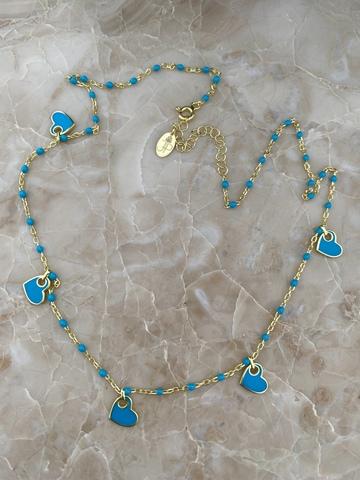 Колье Лавуа с голубой эмалью