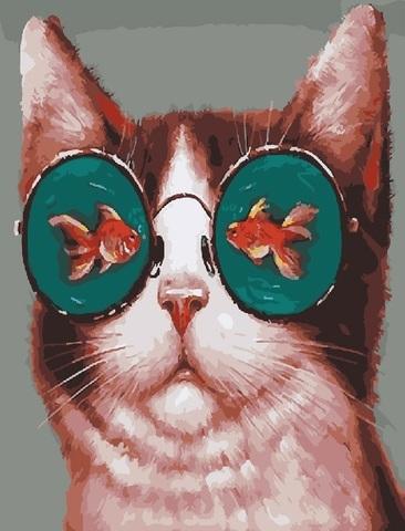Алмазная Мозаика 40x50 Кошка в очках с золотыми рыбками