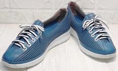 Красивые кроссовки кожаные кеды женские летние кэжуал стайл Wollen P029-2096-24 Blue White.