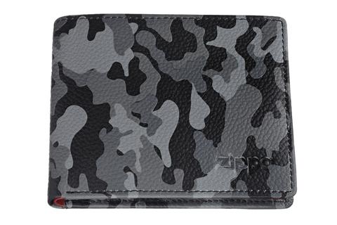 Портмоне Zippo, серо-черное камуфляж, натуральная кожа, 10,8×2,5×8,6 см