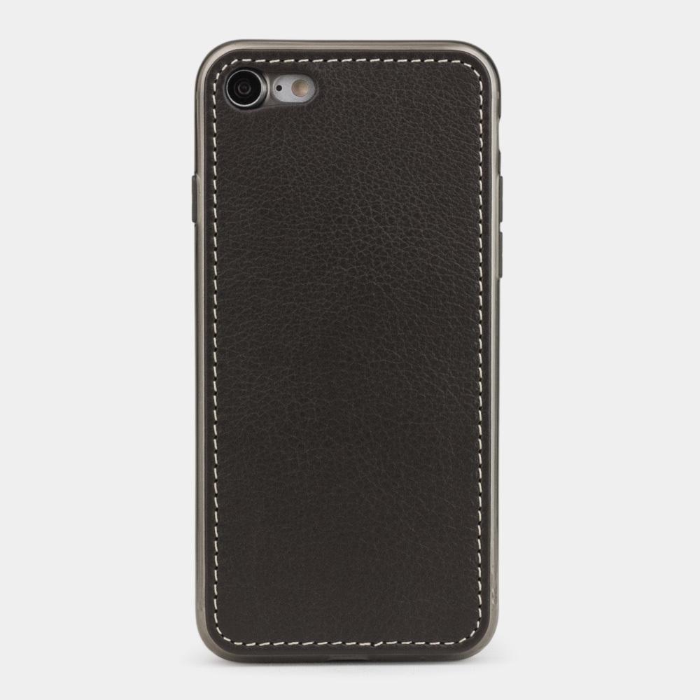 Чехол-накладка для iPhone 7 из натуральной кожи теленка, темно-коричневого цвета