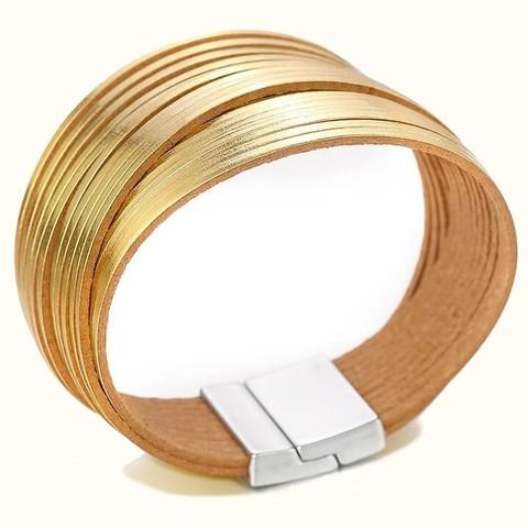 женский кожаный браслет с золотыми полосками