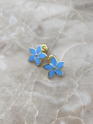 Серьги Карамбола из серебра с голубой эмалью