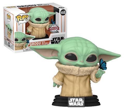 Funko POP! Bobble Star Wars Mandalorian Grogu with Butterfly (Exc)