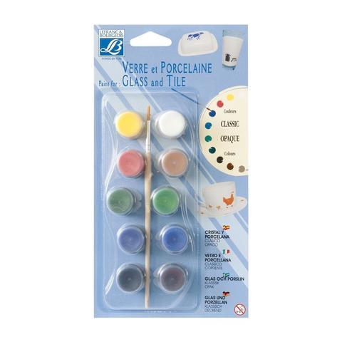 Набор красок по стеклу и керамике Lefranc&Bourgeois Glass&Tile. Непрозрачные (10 х 4 мл)