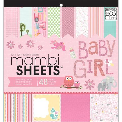 Набор односторонней бумаги с глиттером Me & My Big Ideas Mambi Specialty Cardstock Pad- 30х30см-48л -Baby Girl Animals