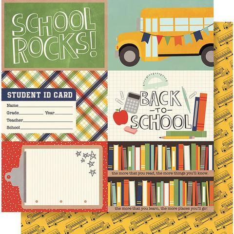 Лист двусторонней бумаги 30х 30 см -Simple Stories  School Rocks!-Horizontal Elements
