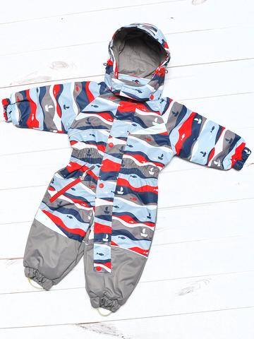 Демисезонный комбинезон для мальчика Uki kids Море синий с красным