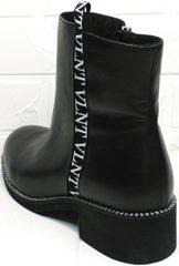 Полусапожки женские на низком каблуке Jina 6845 Leather Black.