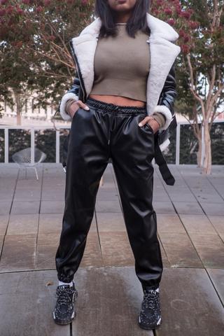 Черные кожаные штаны женские nadya