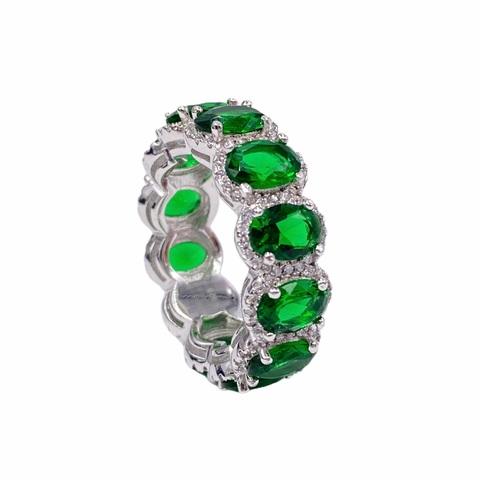 70456 - Кольцо-дорожка из серебра с изумрудными,овальными цирконами