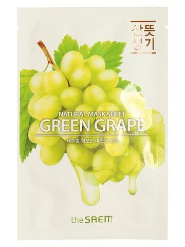 СМ Маска на тканевой основе для лица N с экстрактом винограда Natural Green Grape Mask Sheet 21мл