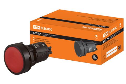 Кнопка переключатель SB7-EA45 d22мм 1з+1р красная TDM