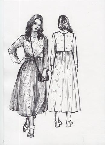 Выкройка платья с отрезной юбкой